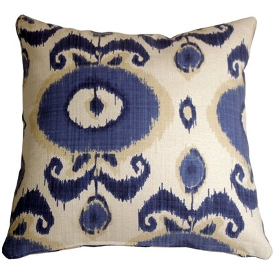 Fortune Ikat Throw Pillow Color: Blue/White