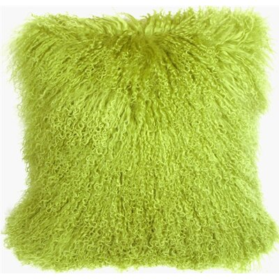Retta Mongolian Sheepskin Throw Pillow Color: Green
