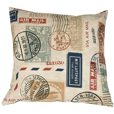 Verda Vintage Postage Stamp Throw Pillow Size: 22 H x 22 W x 7 D, Color: Multi-color