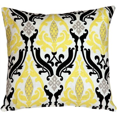 Arcadia Print Linen Throw Pillow Size: 18 H x 18 W x 5 D, Color: Yellow/Black