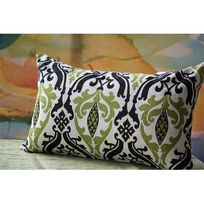 Arcadia Print Linen Lumbar Pillow Color: Green/Black