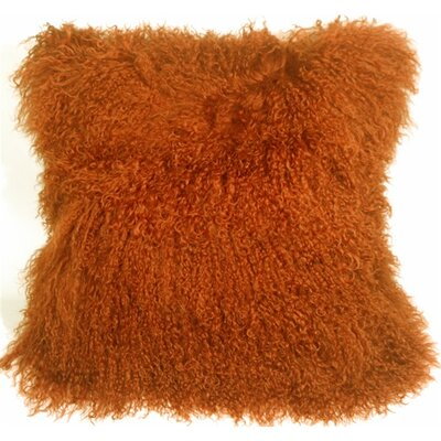 Edgecumbe Mongolian Sheepskin Throw Pillow Color: Burnt Orange
