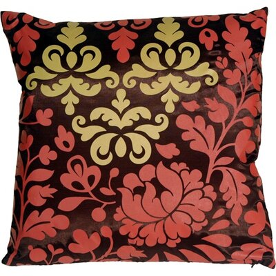 Chessington Damask Throw Pillow Color: Brown/Red/Ocher