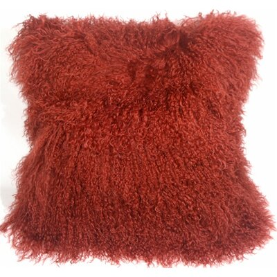 Retta Mongolian Sheepskin Throw Pillow Color: Red