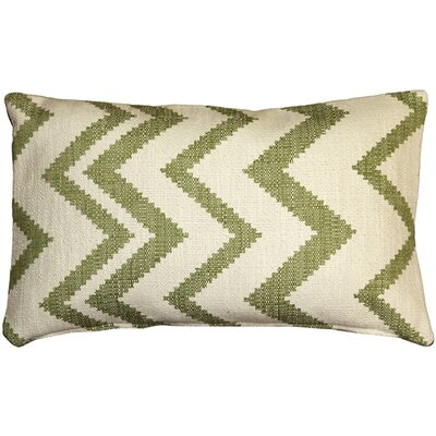 Moreau Zigzag Cotton Lumbar Pillow Color: Green