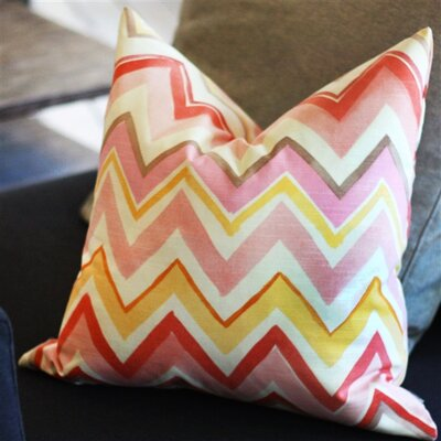 Pacifico Stripes Cotton Throw Pillow Color: Pink