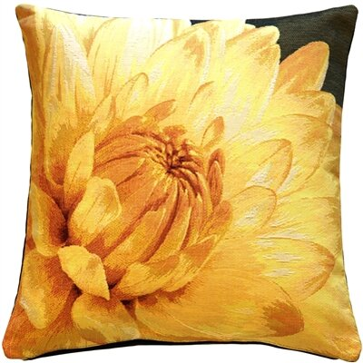 Duke Dahlia Blossom Tapestry Throw Pillow Color: Yellow