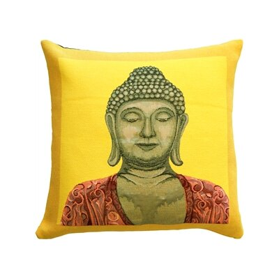 Hensley Buddha Throw Pillow Color: Yellow