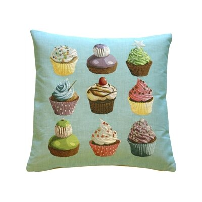 Cupcakes Throw Pillow Color: Blue