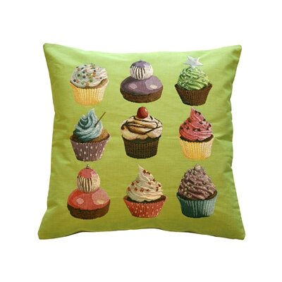 Poland Cupcakes Throw Pillow Color: Green