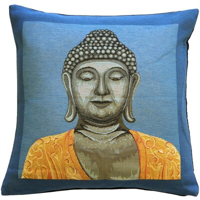 Buddha Throw Pillow Color: Blue