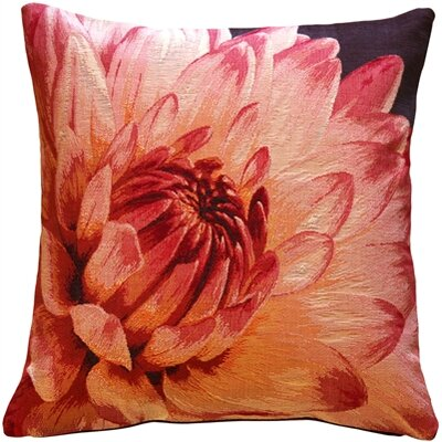 Dahlia Bold Blossom Tapestry Throw Pillow Color: Pink