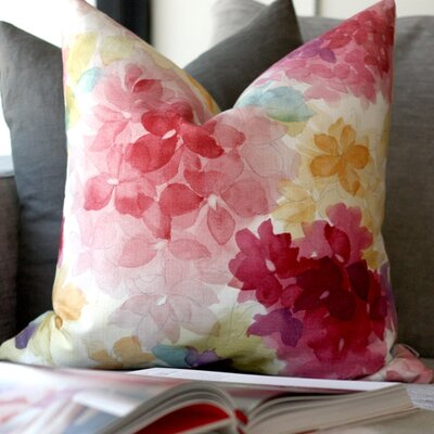 Ernestine Flower Cotton Throw Pillow Color: Pink