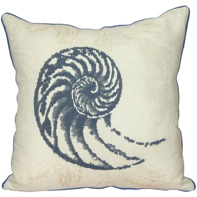 Nautilus Shell Throw Pillow Color: Blue