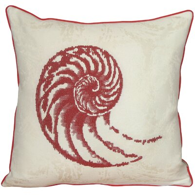 Aragon Nautilus Shell Throw Pillow Color: Red