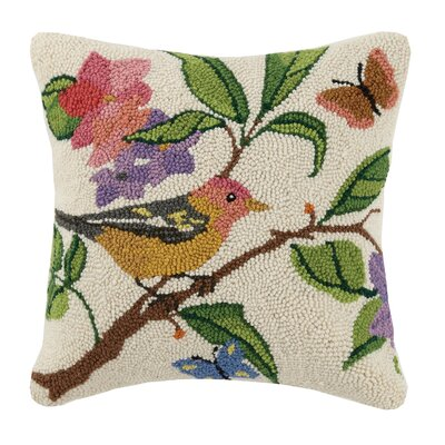 Robin Spring Birds 100% Wool Throw Pillow