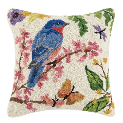 Bluebird Spring Birds Hook 100% Wool Throw Pillow