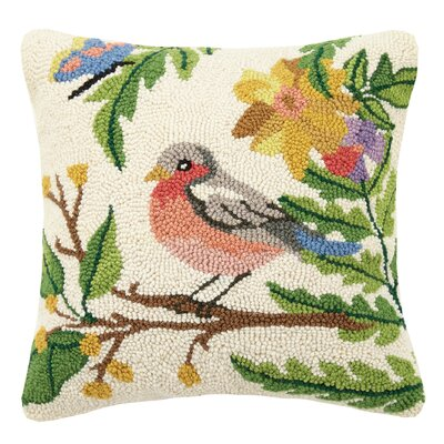Western Tanager Spring Birds 100% Wool Throw Pillow