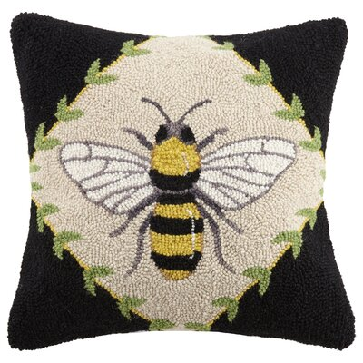 Bumble Bee Spring Garden 100% Wool Throw Pillow