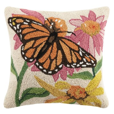 Monarch Butterfly Spring Garden 100% Wool Throw Pillow