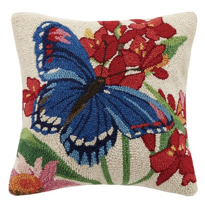 Butterfly Spring Garden 100% Wool Throw Pillow