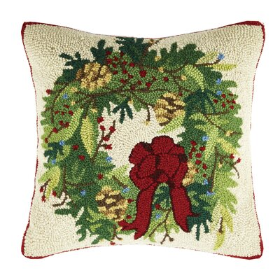 Winter Wreath Hook Wool Throw Pillow