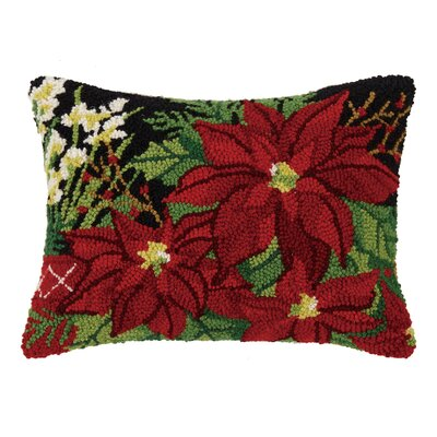 Festive Foliage Hook Wool Lumbar Pillow