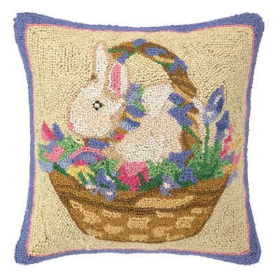 Bunny Surprise Happy Easter Wool Throw Pillow
