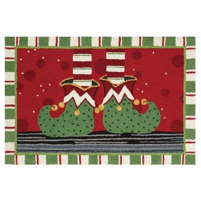 Elf Feet Holiday Hand Hooked Wool Red Area Rug