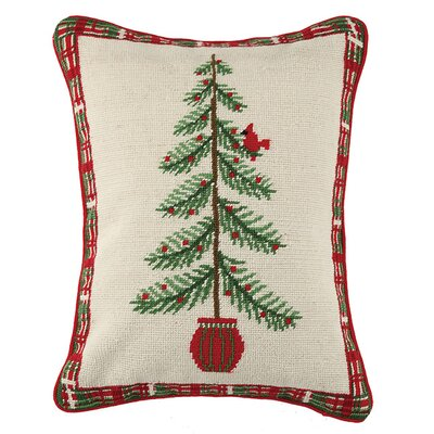 Holiday Needlepoint Wool Lumbar Pillow