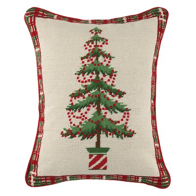 Holiday Needlepoint Lumbar Pillow