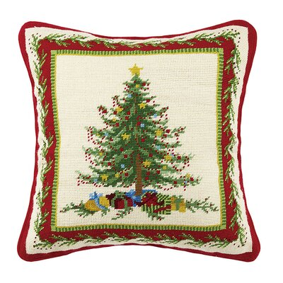 Holiday Needlepoint Throw Pillow