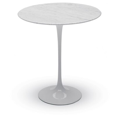 Round End Table Color: White Carrara