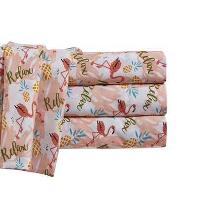 Flamingos Relax Sheet Set Size: Queen
