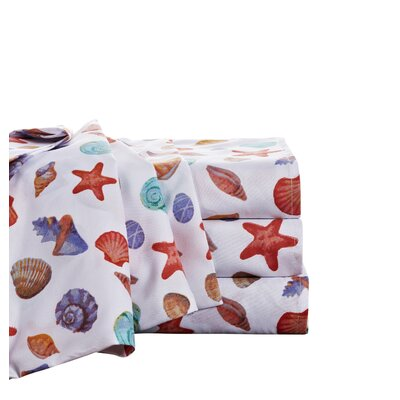 Bowler Painted Shells Microfiber Sheet Set Size: Queen