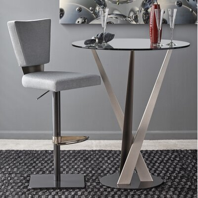 Monroe Adjustable Height Bar Stool Upholstery: Pewter