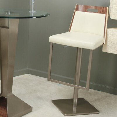 Tyler Adjustable Height Swivel Bar Stool Upholstery: Ecru