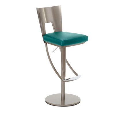 Regal Adjustable Swivel Bar Stool Upholstery: Teal