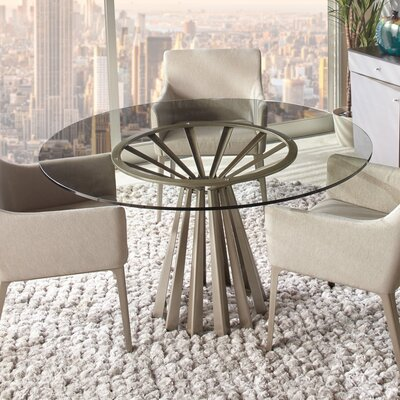 Corono Dining Table Size: 29.5 H x 48 W x 48 D, Top Color: Clear Glass