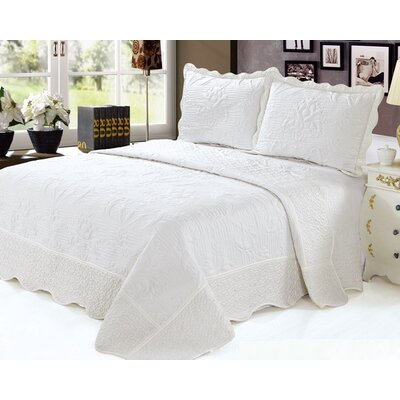 Quilt Set Color: Ivory, Size: Twin