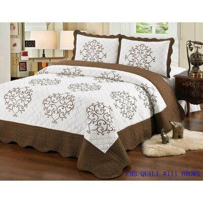 Quilt Set Size: King, Color: Brown