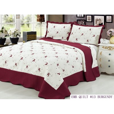 Quilt Set Color: Burgundy, Size: Queen
