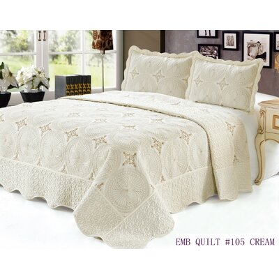 Quilt Set Size: Queen, Color: Cream