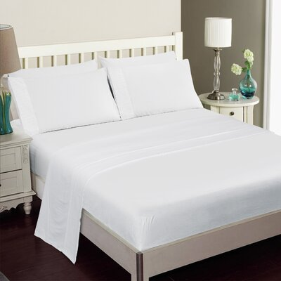 Gulliver 6 Piece Polyester/Rayon from Bamboo Sheet Set Color: White, Size: Queen