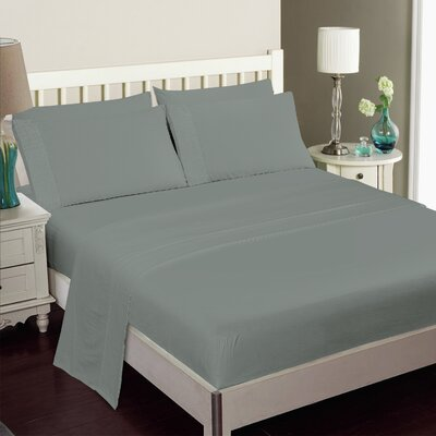 Gulliver 6 Piece Polyester/Rayon from Bamboo Sheet Set Color: Silver, Size: Queen