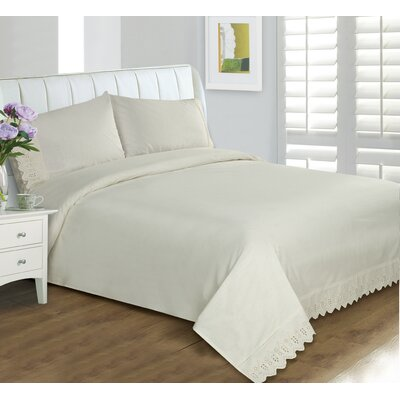 Amettes Lace Duvet Set Size: Full, Color: Cream