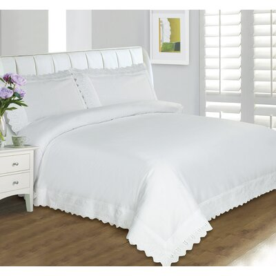 Amettes Lace Duvet Set Size: Twin, Color: White
