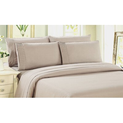 Gulliver 6 Piece Polyester/Rayon from Bamboo Sheet Set Size: King, Color: Beige