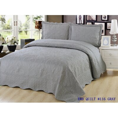 Quilt Set Size: King, Color: Gray