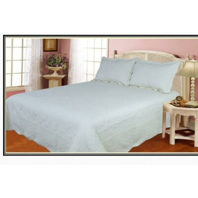 100% Cotton 3 Piece Quilt Set Size: Queen, Color: White